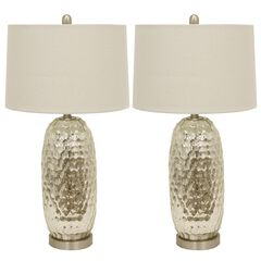 1 Set Antique Mercury Dimple Glass Table Lamp Off-White Linen Hardback Shade ,
