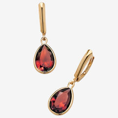 Gold over Sterling Silver Drop EarringsPear Cut Simulated Birthstones,