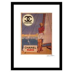 Chanel Paris Sweet Sails - Red / Blue - 14x18 Framed Print,
