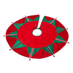 Ribbon Candy Christmas Tree Skirt, RED GREEN