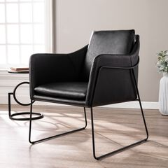 Kester Black Faux Leather Accent Chair,