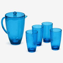 Blue Hammered Drinkware, Set of 5,