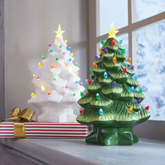 Pre-Lit Nostalgic Porcelain Christmas Tree ,