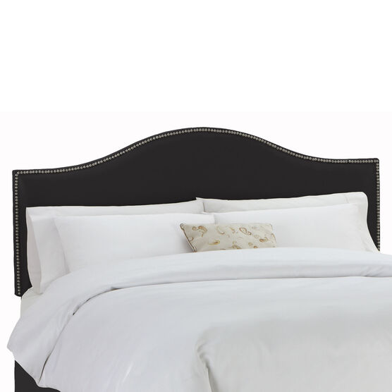 """King Size Upholstered Curved Top Nail Button Border Headboard, 78""""Lx4""""Wx51""""H,"""