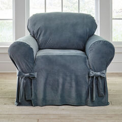 Velvet Chair Slipcover, BLUE HAZE