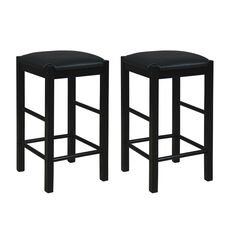 Lancer Backless Counter Stools, Black - Set of Two,