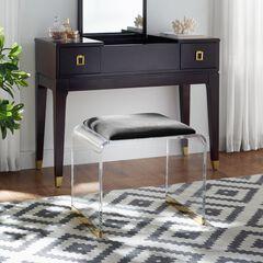 Magley Upholstered Acrylic Vanity Stool, BLACK