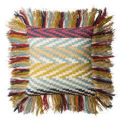 Chindi Sliced Chevron Woven Long-Fringe Decorative Pillow,