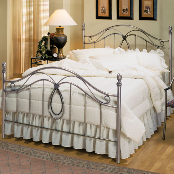 """Full Bed with Bed Frame 76""""Lx55""""Wx55""""H, ANTIQUE PEWTER"""