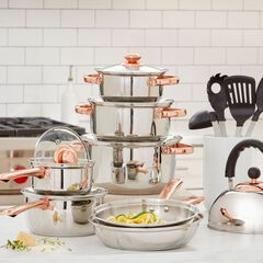 17-Pc. Cookware & Utensil Set with Copper Knobs,
