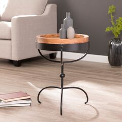 Chadra Round Accent Table with Serving Tray,