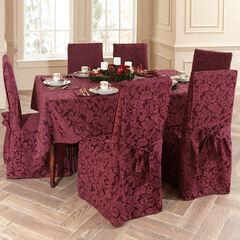 9-Pc. Square Damask Table Linen Set, BURGUNDY