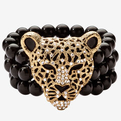 "Goldtone Onyx Leopard Stretch Bracelet (42mm), Round Crystal, 8.5"","