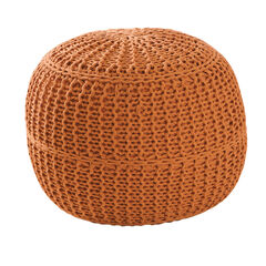BH Studio® Hand-Knitted Ottoman Pouf, MARMALADE