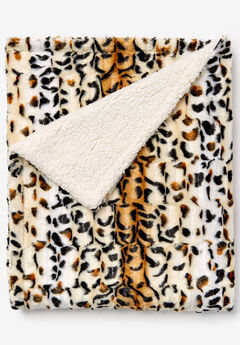 Faux Fur Animal Print Throw, OCELOT PRINT