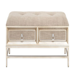 Beige Linen and Metal Contemporary Bench, 19x43x16,