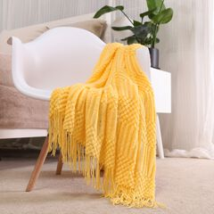 """Battilo Home Solid Lightweight Knit Patterned Throws for Sofa Home Decorative Bed Blanket, 50"""" x 60"""","""
