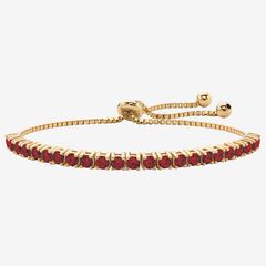 "Gold-Plated Bolo Bracelet, Simulated Birthstone 9.25"" Adjustable,"