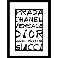 "Fashion Brand Names Black/White 14"" x 18"" Framed Print,"