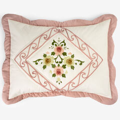 Ava Embroidered Cotton Sham, BLUSH