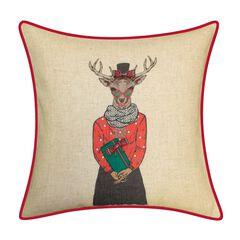 Holiday Christmas Plaid Reindeer Girlfriend Decorative Pillow ,