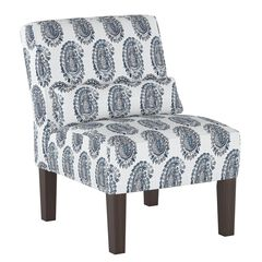 Block Paisley Armless Chair, BLOCK PAISLEY NAVY