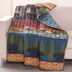 Greenland Home Fashions Black Bear Lodge Quilted Throw Blanket,