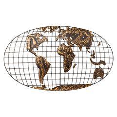 Iron World Map Wall Art,