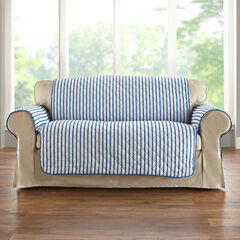 Striped Loveseat Protector, BLUE