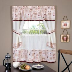 Cappuccino Embellished Cottage Window Curtain Set, BURGUNDY