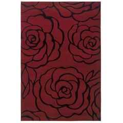 Milan Red/Black 5'X8' Area Rug,