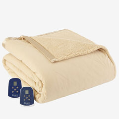 Micro Flannel® Reverse to Sherpa Electric Blanket, CHINO