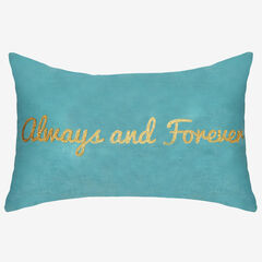 """Always and Forever"" Metallic Velvet Decorative Pillow,"
