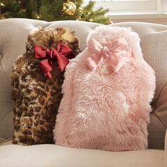 Faux Fur Plush Hot Water Bottle & Holder,