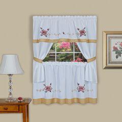 Rose Embellished Cottage Window Curtain Set, ROSE
