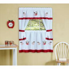 Gala Embellished Cottage Window Curtain Set, RED