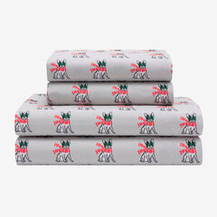 Holly Jolly Microfiber Sheet Set, FRENCH BULLDOG