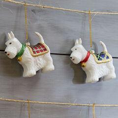 Scottie Dog Ornaments, Set of 2,