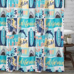 Greenland Home Wave Rider Shower Curtain,