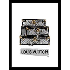 "Louis Vuitton Trunks Black/Grey 14"" x 18"" Framed Print,"