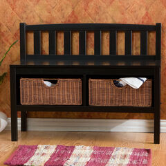 Bench with Brown Rattan Baskets,