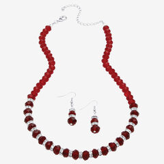 """Silver Tone Graduated Necklace & Earring Set Simulated 18"""" plus 2"""" ext,"""