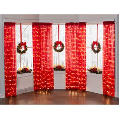 "84"" Pre-Lit Rod-Pocket Curtain Panel, BURGUNDY"