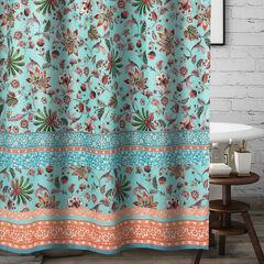 Audrey Turquoise Bath Shower Curtain,