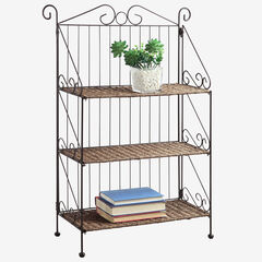 Farmington 3 Tier Folding Weave/Black Iron Shelf,