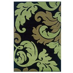 Corfu Black/Green 2'x3' Area Rug ,