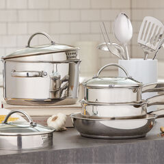 12-Pc. Stainless Steel Cookware & Utensil Set,