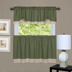 Darcy Window Curtain Tier and Valance Set, GREEN CAMEL