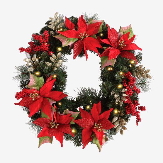 Pre-Lit Poinsettia Wreath, RED