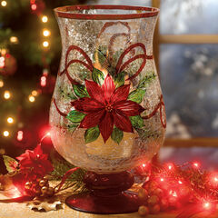 Holiday Hand-Painted Poinsettia Hurricane,